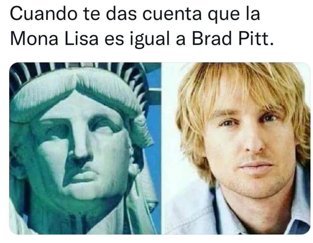 Cuando te das cuenta que la Mona Lisa es igual a Brad Pitt.