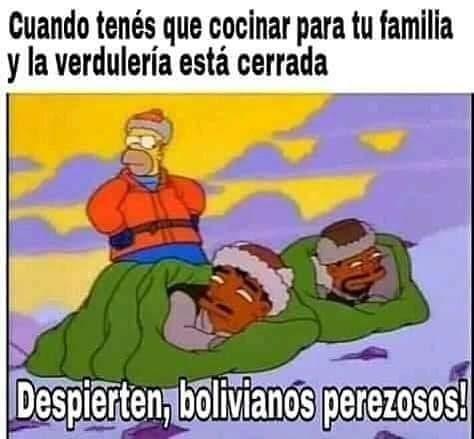 Cuando tenés que cocinar para tu familia y la verdulería está cerrada.  Despierten, bolivianos perezosos!
