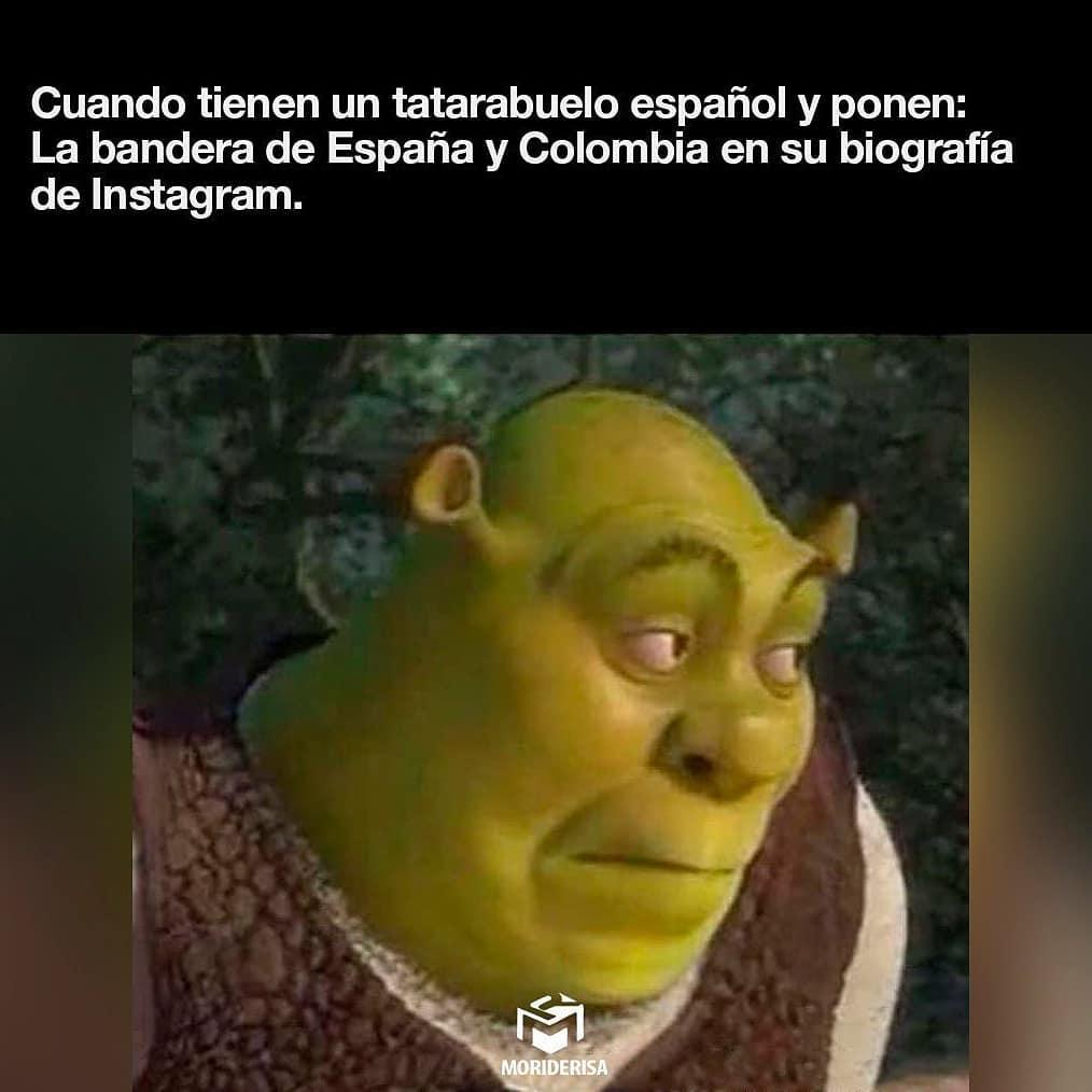 Cuando tienen un tatarabuelo español y ponen: La bandera de España y Colombia en su biografía de Instagram.