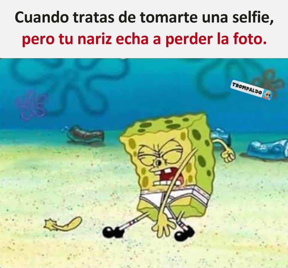 Cuando tratas de tomarte una selfie, pero tu nariz echa a perder la foto.