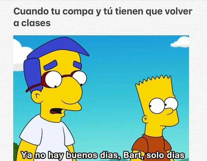 Cuando tu compa y tú tienen que volver a clases.  Ya no hay buenos dias, Bart, solo días.