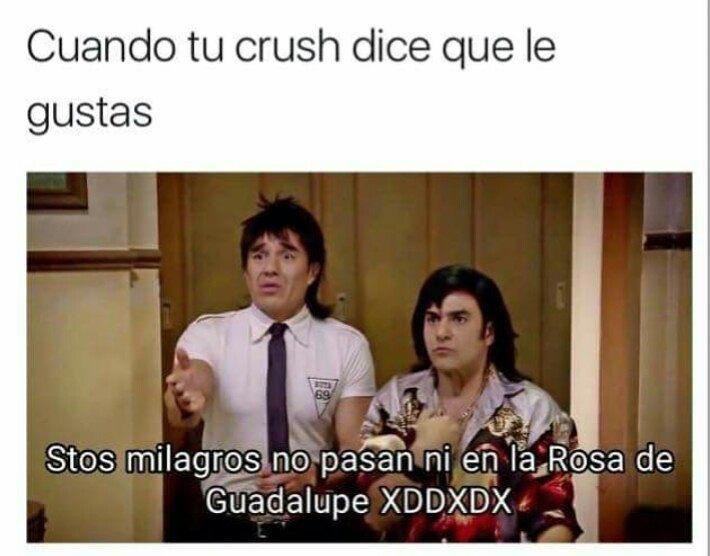 Cuando tu crush dice que le gustas.  Stos milagros no pasan ni en la Rosa de Guadalupe XDDXDX