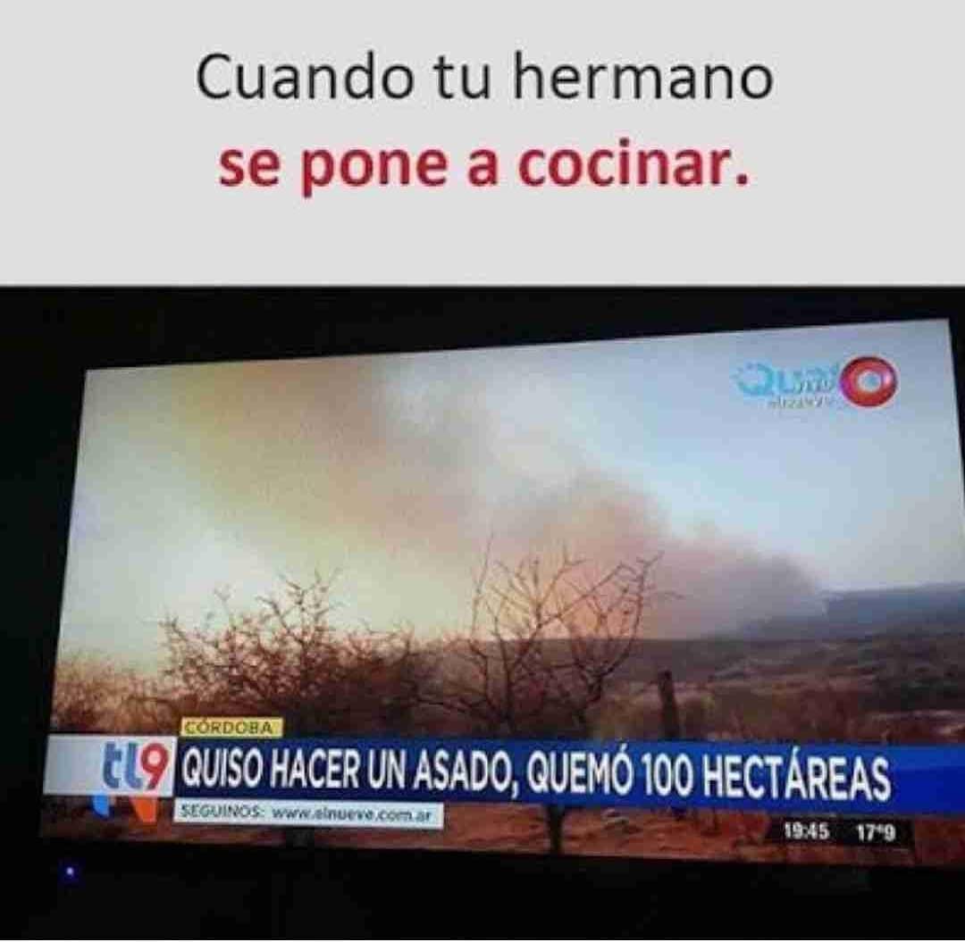 Cuando tu hermano se pone a cocinar.  Quiso hacer un asado, quemó 100 hectáreas.