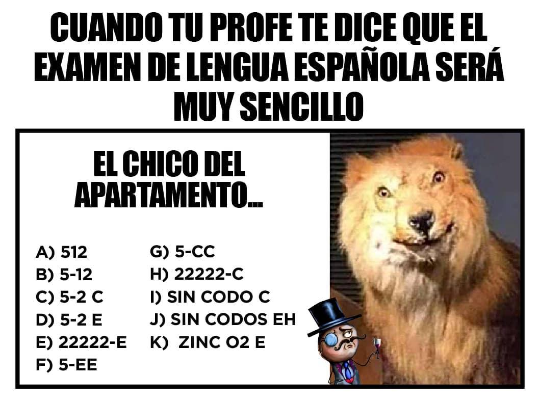 Cuando tu profe te dice que el examen de Lengua Española será muy sencillo:  El chico del apartamento...
