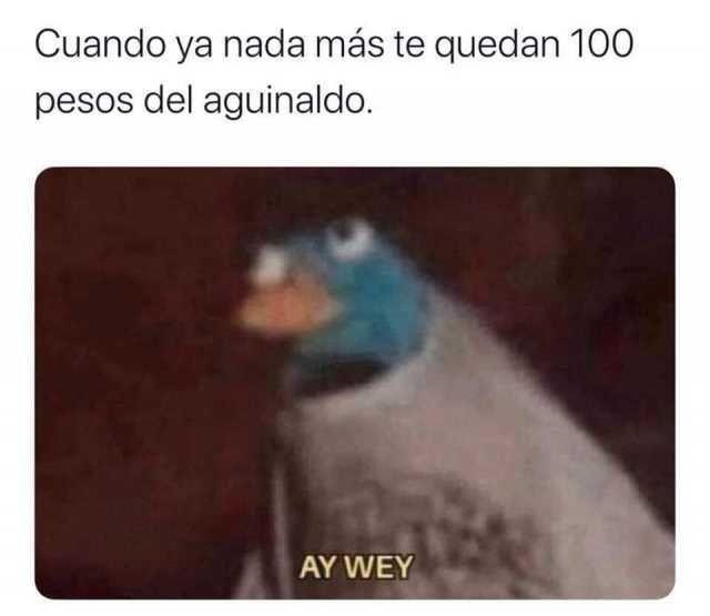 Cuando ya nada más te quedan 100 pesos del aguinaldo. AY WEY.