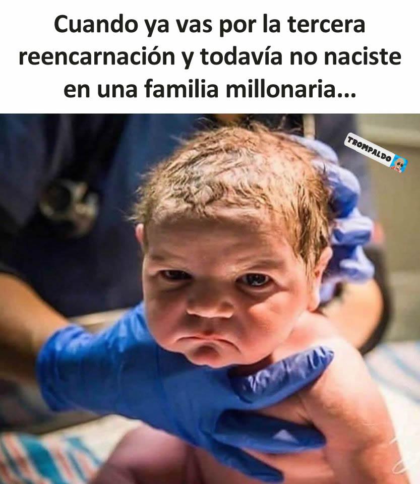 Cuando ya vas por la tercera reencarnación y todavía no naciste en una familia millonaria...