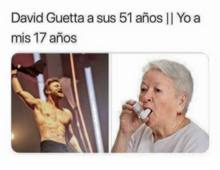 David Guetta a sus 51 años. // Yo a mis 17 años.