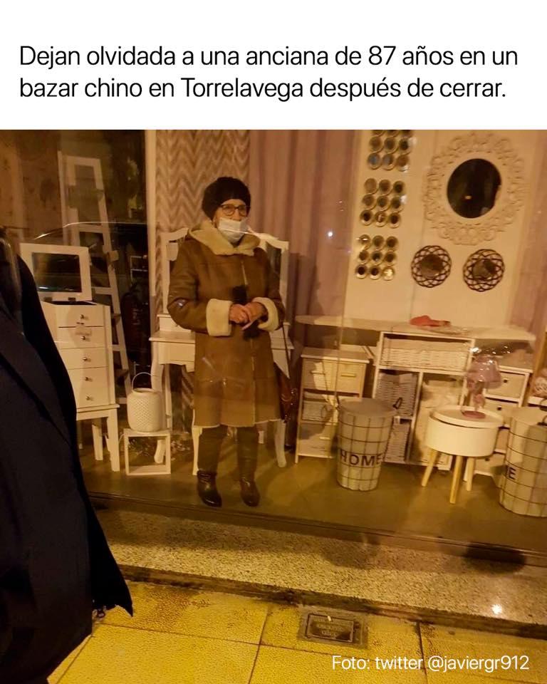 Dejan olvidada a una anciana de 87 años en un bazar chino en Torrelavega después de cerrar.
