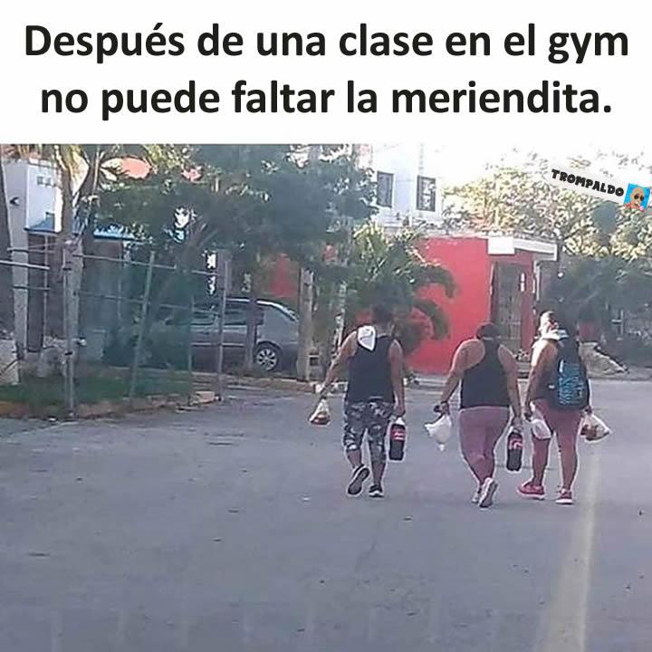 Después de una clase en el gym no puede faltar la meriendita.