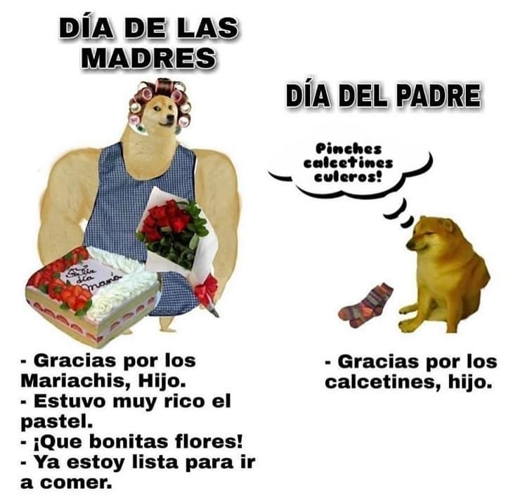Día de las madres: Gracias por los Mariachis, hijo. Estuvo muy rico el pastel. ¡Que bonitas flores! Ya estoy lista para ir a comer.  Día del padre: Pinches calcetines c*leros. Gracias por los calcetines, hijo.
