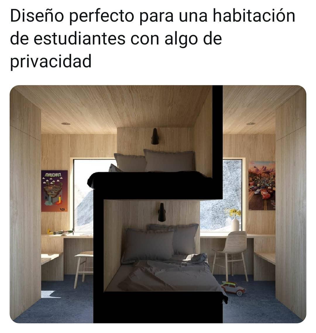 Diseño perfecto para una habitación de estudiantes con algo de privacidad.