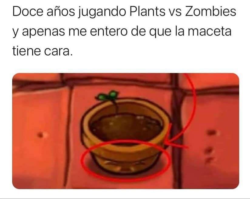 Doce años jugando Plants vs Zombies y apenas me entero de que la maceta tiene cara.