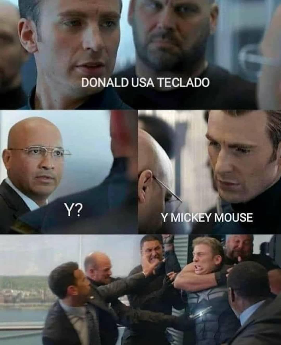 Donald usa teclado.  y?  Mickey mouse.