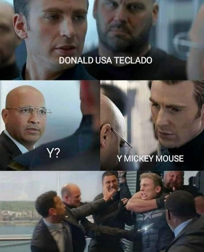 Donald usa teclado.  ¿Y?  Y Mickey Mouse?