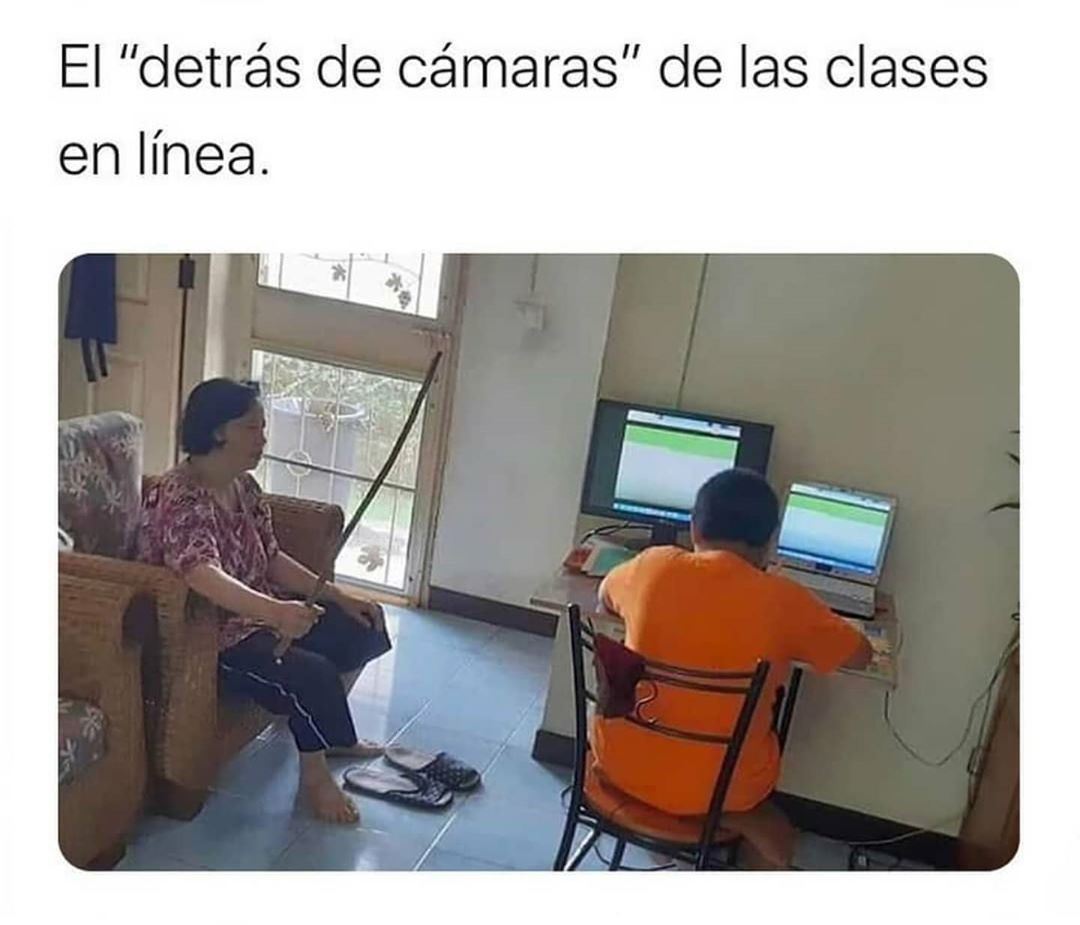 """El """"detrás de cámaras"""" de las clases en línea."""