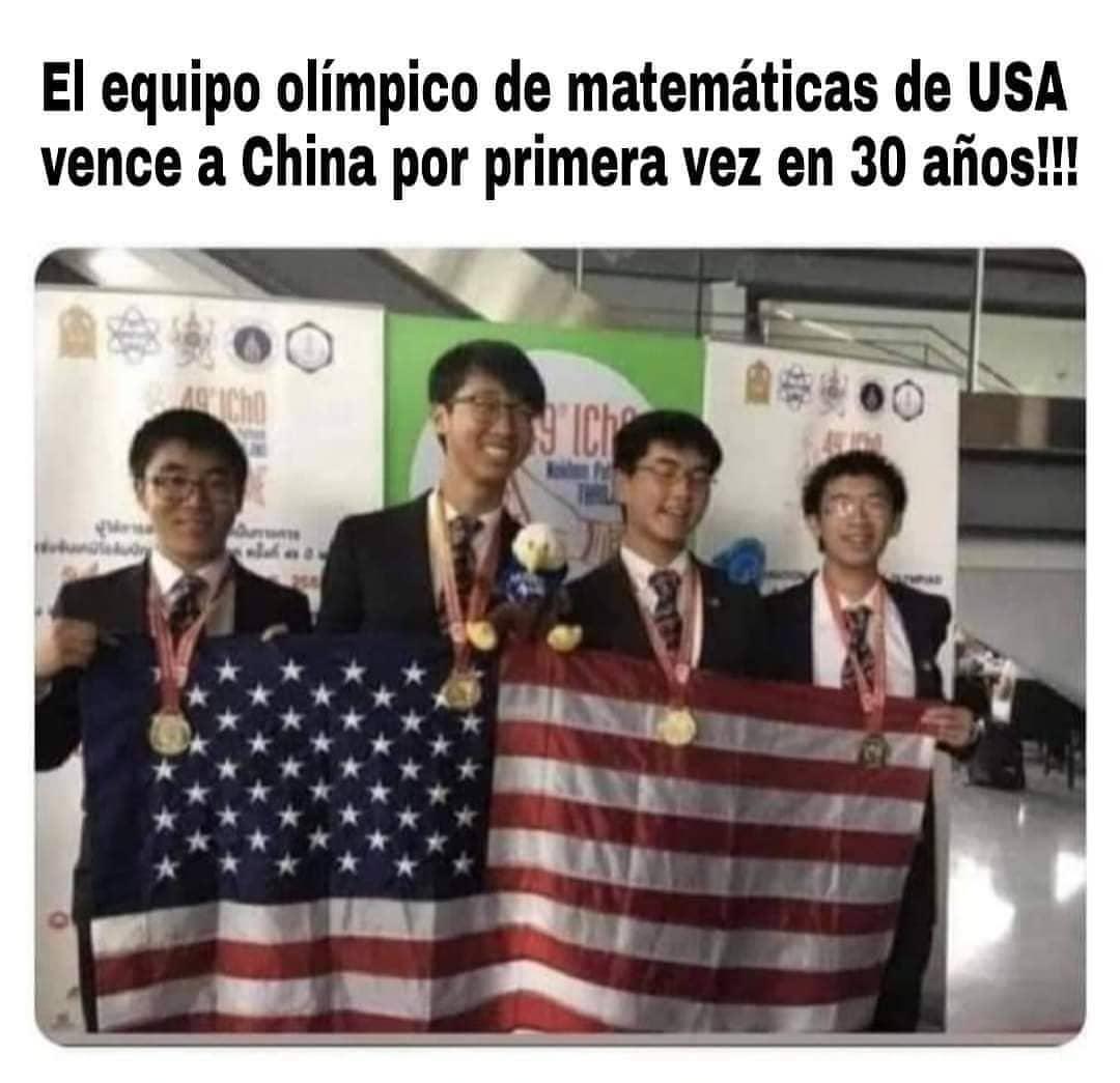 El equipo olímpico de matemáticas de USA vence a China por primera vez en 30 años!!!