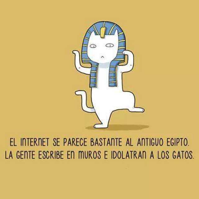 El internet se parece bastante al antiguo Egipto. La gente escribe en muros e idolatran a los gatos.