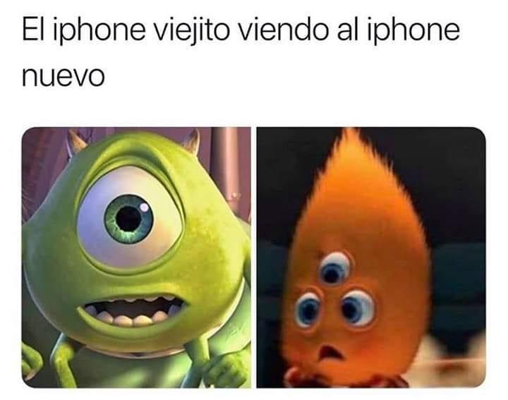 El iphone viejito viendo al iphone nuevo.