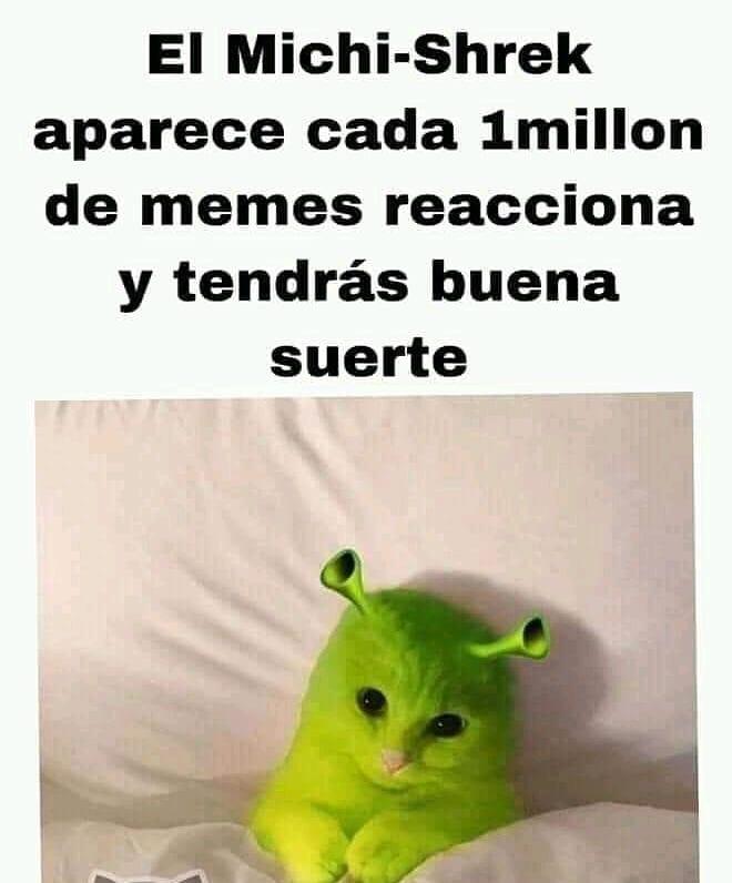 El Michi-Shrek aparece cada 1 millón de memes reacciona y tendrás buena suerte.