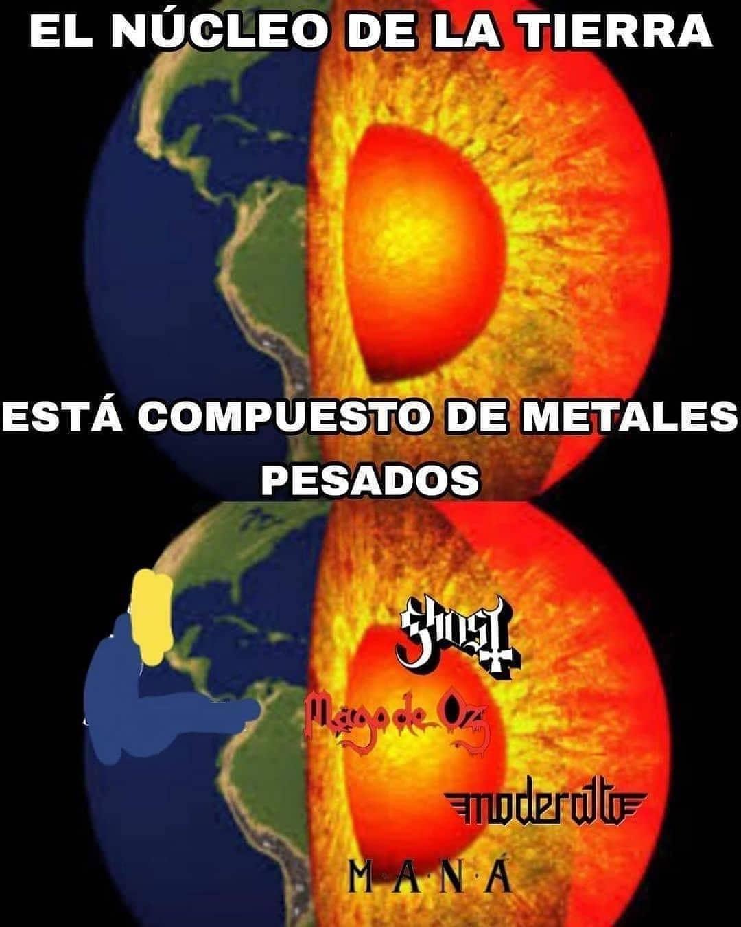 El núcleo de la tierra está compuesto de metales pesados.