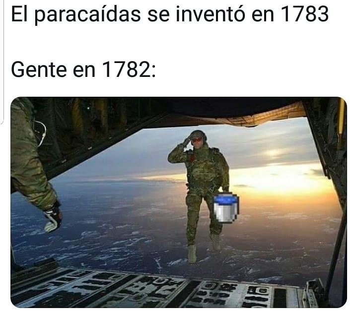 El paracaídas se inventó en 1783.  Gente en 1782.