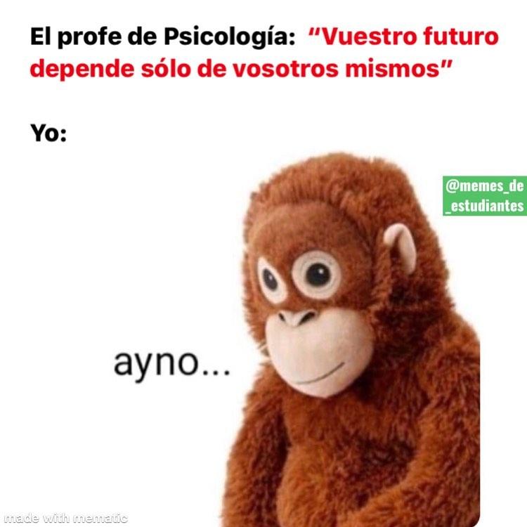 El profe de Psicología: Vuestro futuro depende sólo de vosotros mismos. Yo: Ayno...
