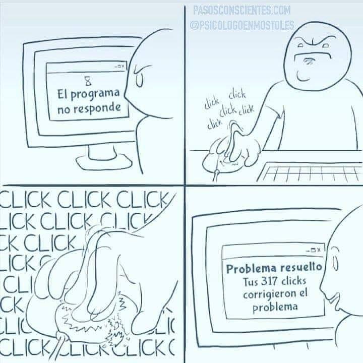 El programa no responde. Problema resuelto tus 317 clicks corrigieron el problema.