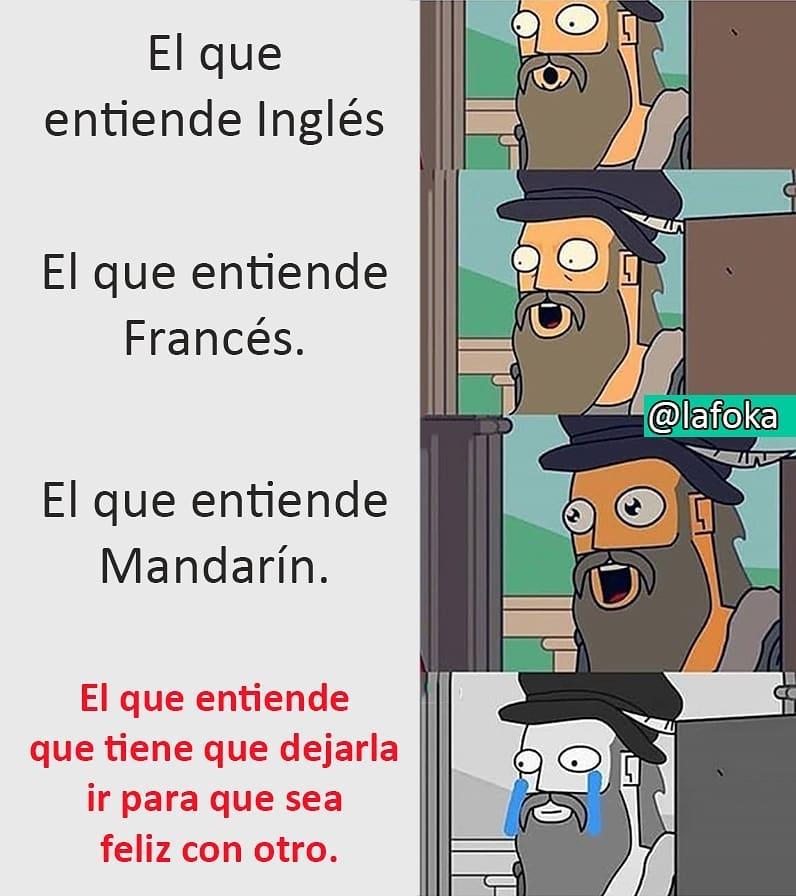 El que entiende Inglés. El que entiende Francés. El que entiende Mandarín. El que entiende que tiene que dejarla ir para que sea feliz con otro.