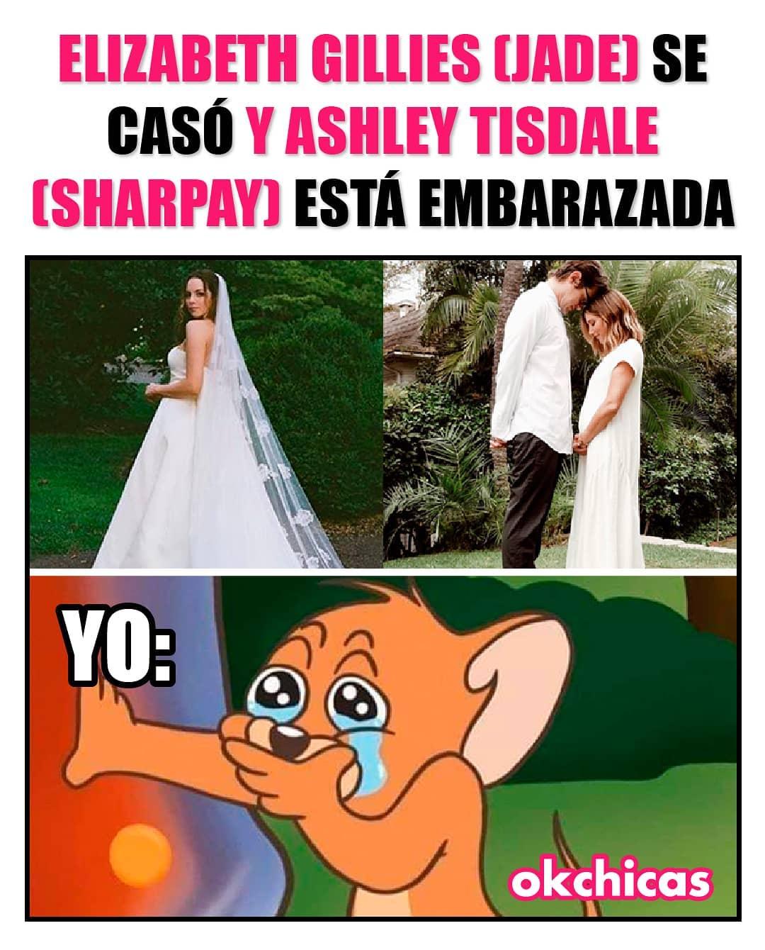 Elizabeth Gillies (Jade) se casó y Ashley Tisdale (Sharpay) está embarazada.  Yo: