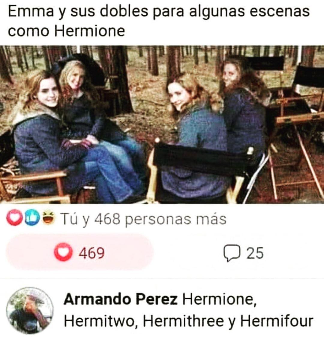 Emma y sus dobles para algunas escenas como Hermione.  Hermione, Hermitwo, Hermithree y Hermifour.