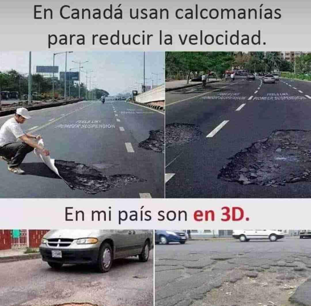 En Canadá usan calcomanías para reducir la velocidad.  En mi país son en 3D.