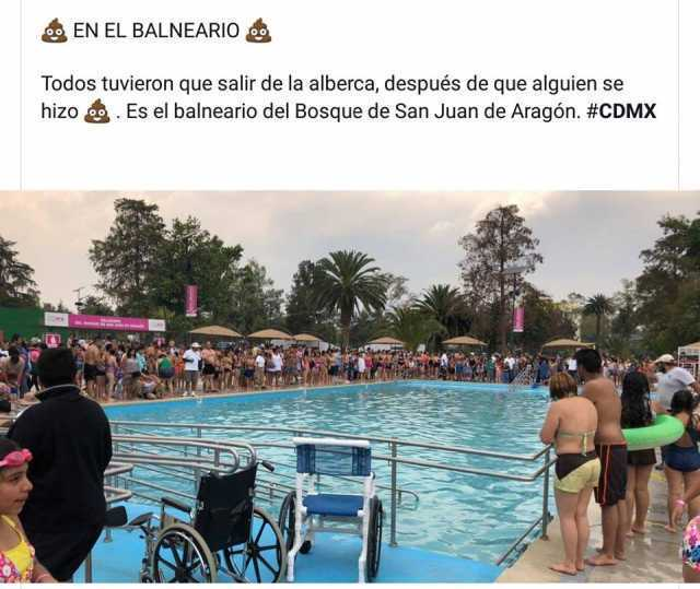 En el balneario.  Todos tuvieron que salir de la alberca, después de que alguien se hizo. Es el balneario del Bosque de San Juan de Aragón. #CDMX