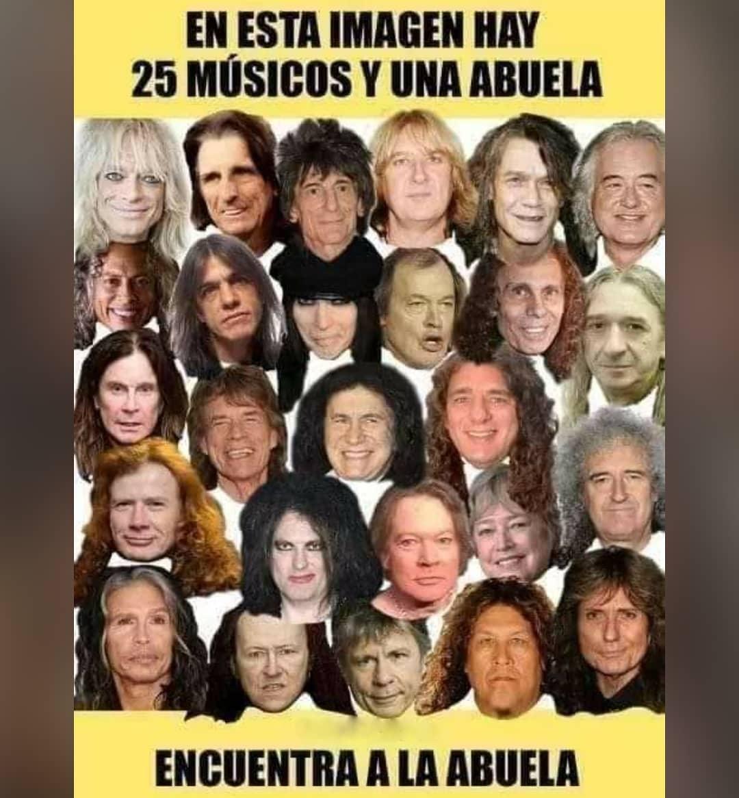 En esta imagen hay 25 músicos y una abuela. Encuentra a la abuela.