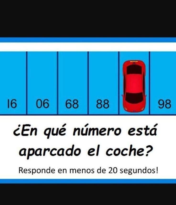 ¿En qué número está aparcado el coche? Responde en menos de 20 segundos!