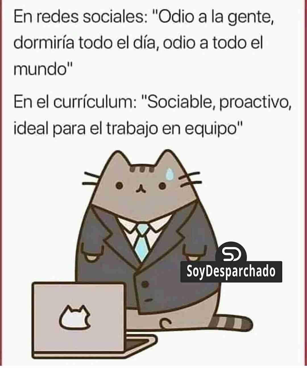 """En redes sociales: """"Odio a la gente, dormiría todo el día, odio a todo el mundo"""".  En el currículum: """"Sociable, proactivo, ideal para el trabajo en equipo""""."""