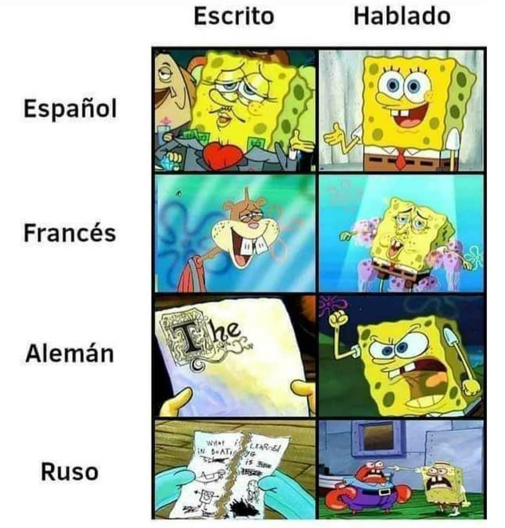 Español: Escrito / Hablado.  Francés: Escrito / Hablado.  Alemán: Escrito / Hablado.  Ruso: Escrito / Hablado.