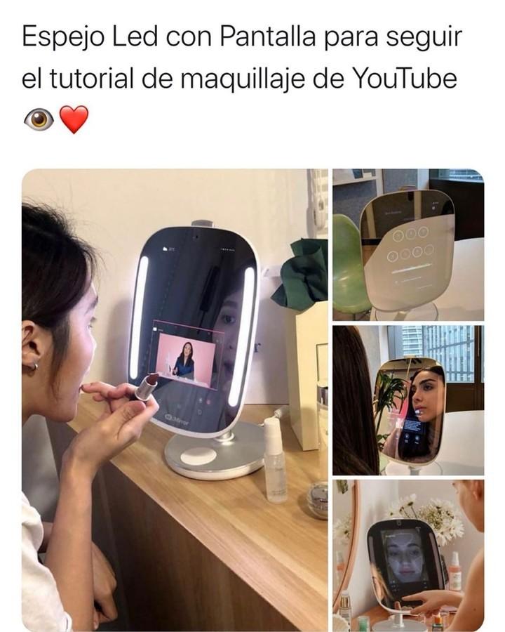 Espejo Led con pantalla para seguir el tutorial de maquillaje de YouTube.