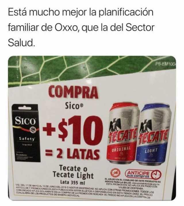 Está mucho mejor la planificación familiar de Oxxo, que la del Sector Salud.