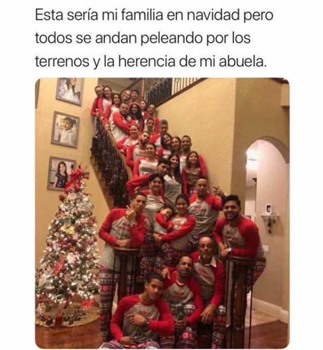 Esta sería mi familia en navidad pero todos se andan peleando por los terrenos y la herencia de mi abuela.