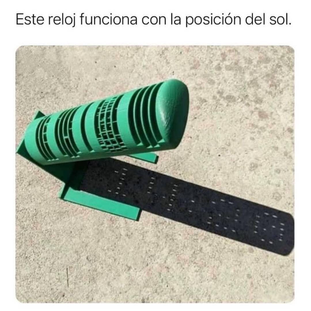 Este reloj funciona con la posición del sol.