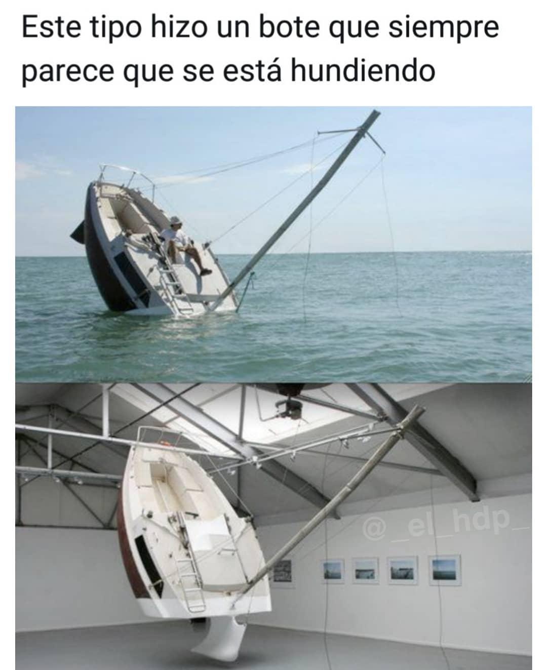 Este tipo hizo un bote que siempre parece que se está hundiendo.