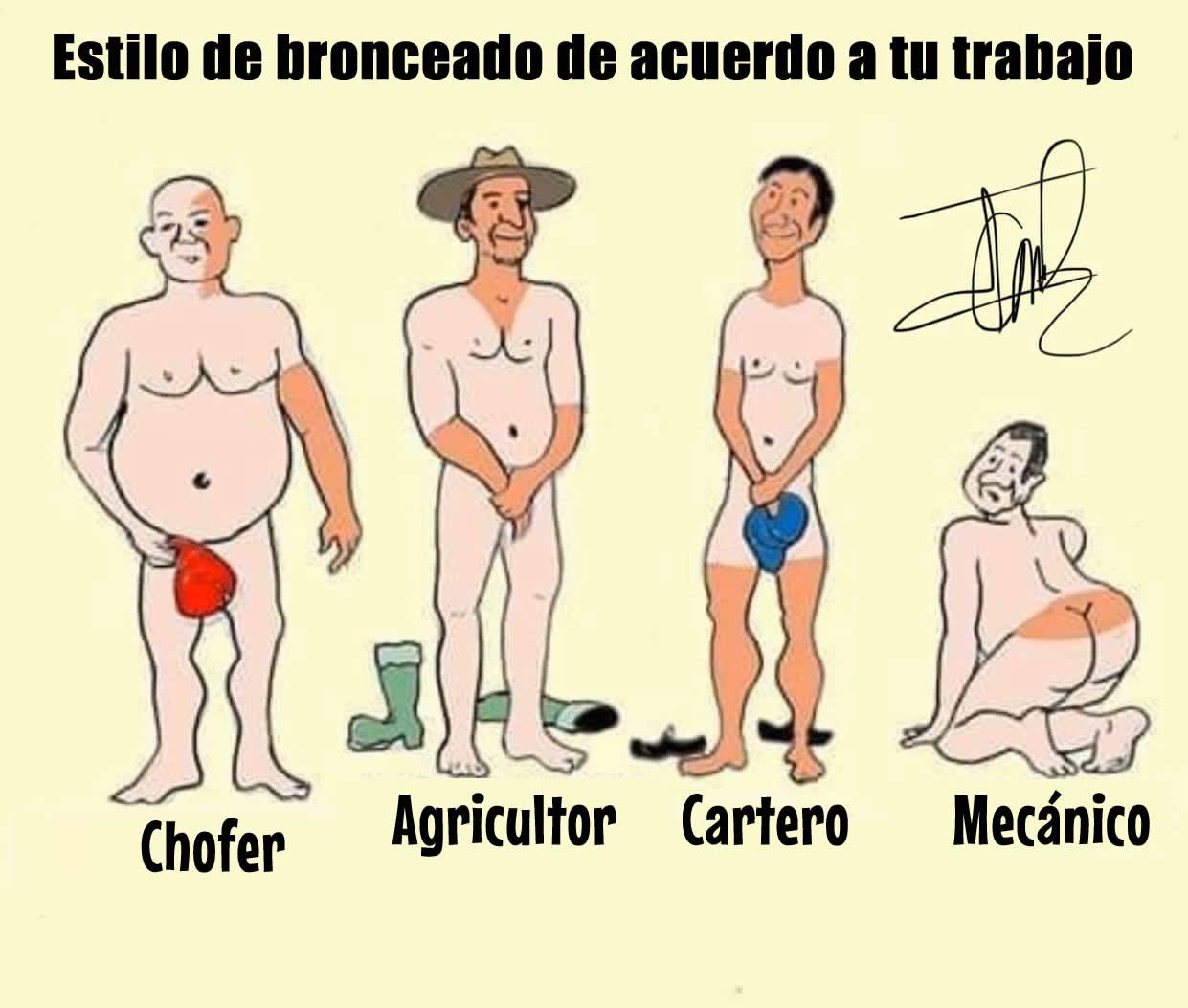 Estilo de bronceado de acuerdo a tu trabajo:  Chofer Agricultor Cartero Mecánico
