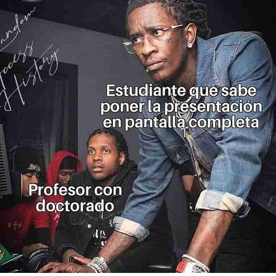 Estudiante que sabe poner la presentación en pantalla completa.  Profesor con doctorado.