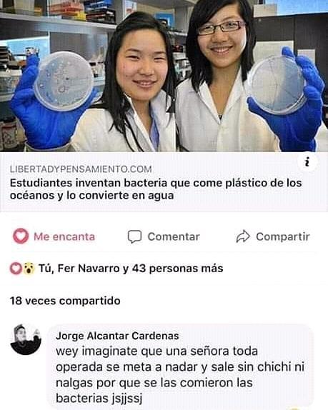 Estudiantes inventan bacteria que come plástico de los océanos y lo convierte en agua.  Wey imagínate que una señora toda operada se meta a nadar y sale sin chichi ni nalgas por que se las comieron las bacterias jsjjssj.