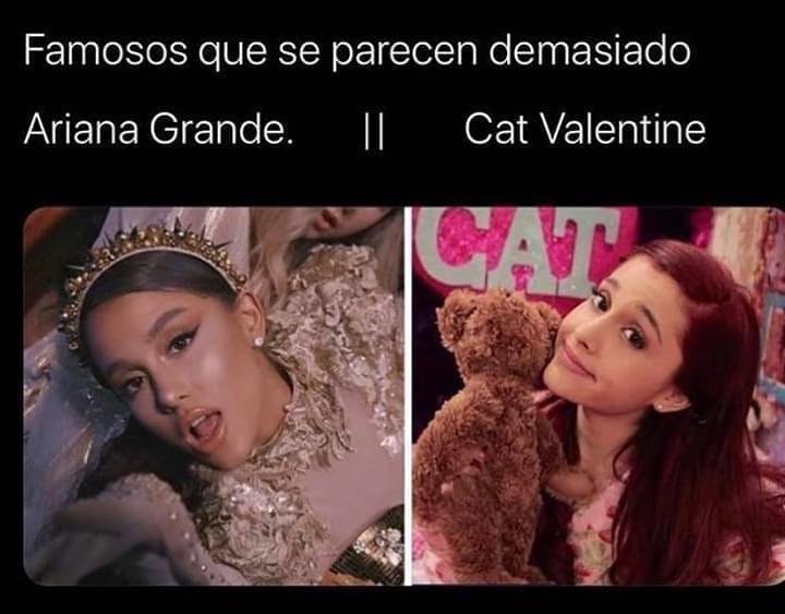 Famosos que se parecen demasiado.  Ariana Grande. // Cat Valentine.