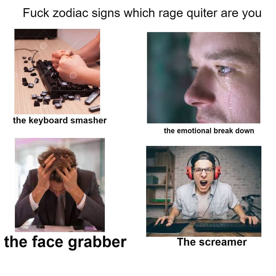 Fuck zodiac signs which rage quiter are you. The keyboard smasher. The emotional break down. The face grabber. The screamer.