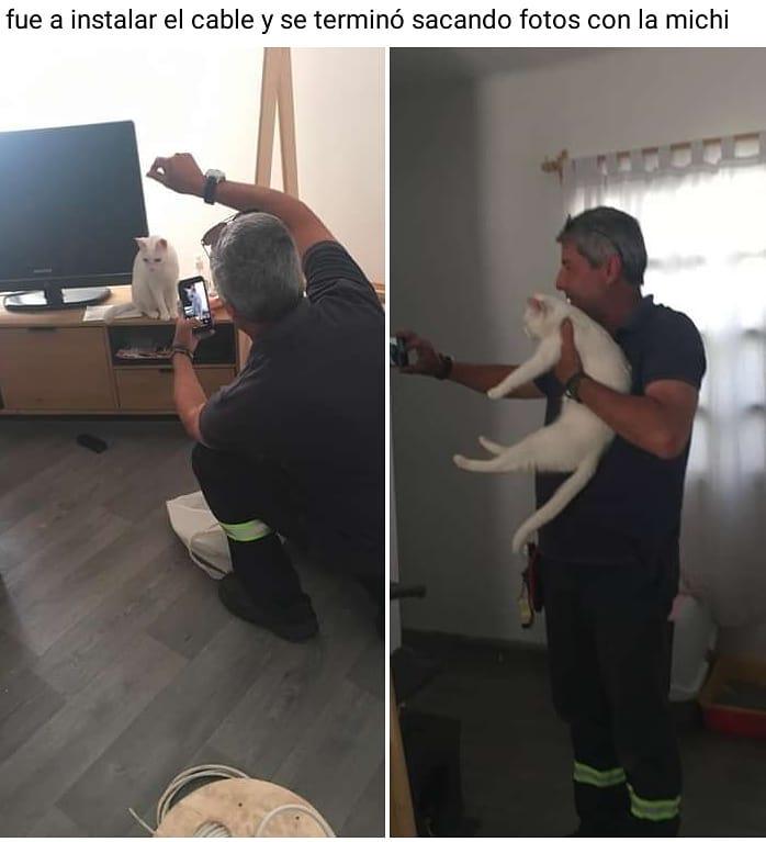 Fue a instalar el cable y se terminó sacando fotos con la michi.