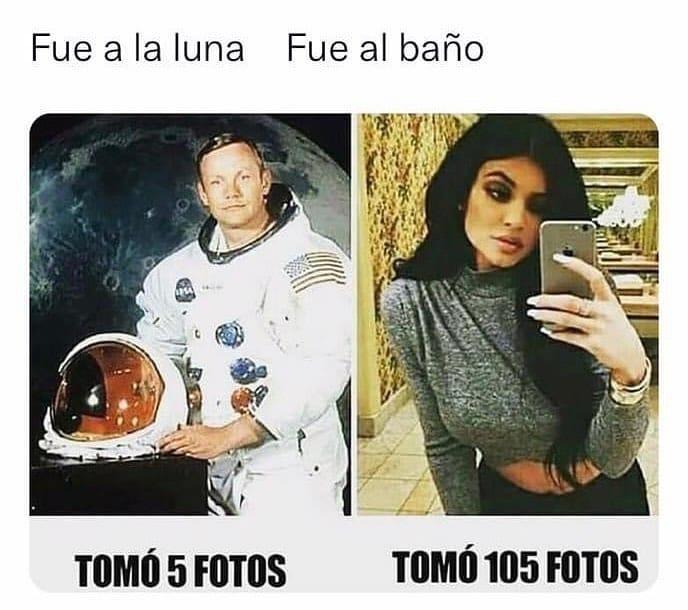 Fue a la luna: Tomó 5 fotos.  Fue al baño: Tomó 105 fotos.