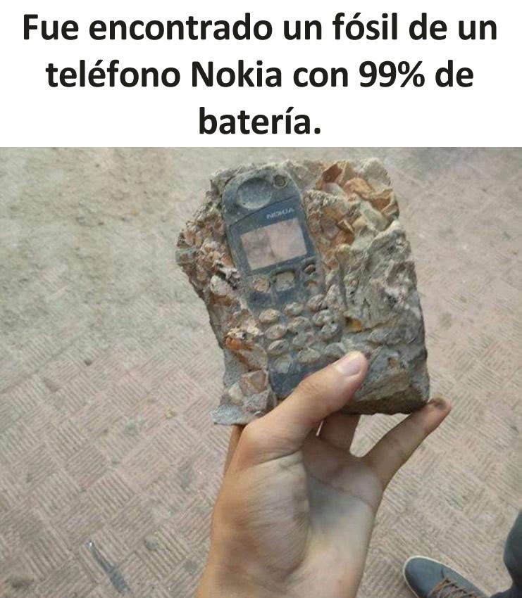 Fue encontrado un fósil de un teléfono Nokia con 99% de batería.