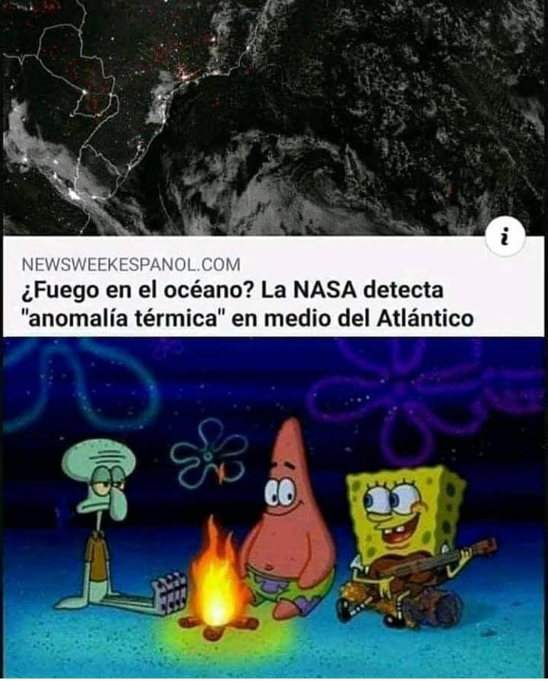 """¿Fuego en el océano? La NASA detecta """"anomalía térmica"""" en medio del Atlántico."""
